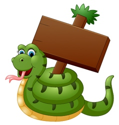 Funny snake with blank sign vector image