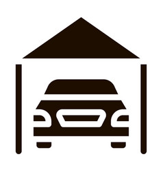 Garage shed with car vehicle icon vector