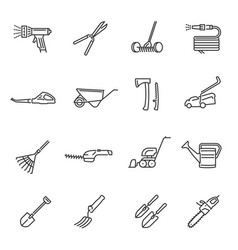 garden farm tools thin line icons set isolated on vector image