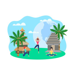 girls doing yoga on background palm trees vector image