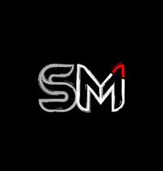 grunge white red black alphabet letter sm s m vector image