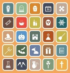 Halloween flat icons on orange background vector image