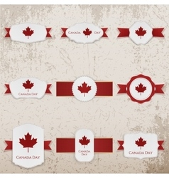 Happy Canada Day paper Banners with greeting Text vector