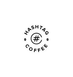 hashtag coffee logo design concept vector image
