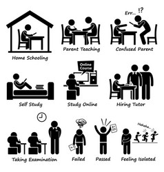Homeschooling home school education stick figure vector