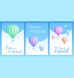 hot air balloon cloud scape motivational quote set vector image