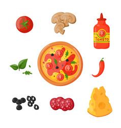 Hot fresh pizza ingredients icons vector