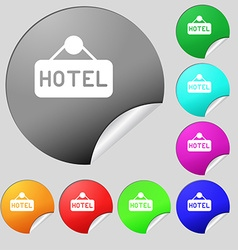 hotel icon sign Set of eight multi colored round vector image