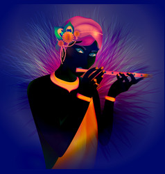 image avatar of god krishna hinduism is a vector image