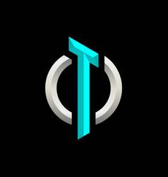 Initial t gaming esport logo design modern vector