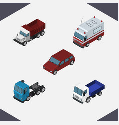 isometric automobile set of first-aid truck vector image