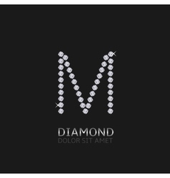 Letter M with gemstones vector image