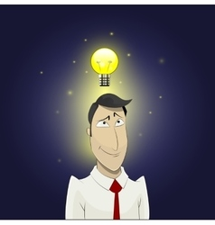 Light bulb above head of cartoon man vector image