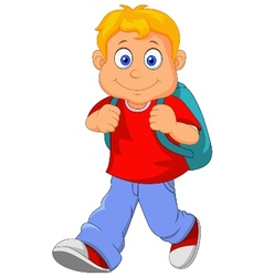 Little boy cartoon walking vector