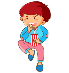 Little boy eating popcorn and drinking soda vector