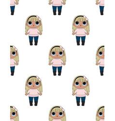 lol girl badolls pattern vector image