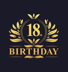 Luxury 18th birthday logo 18 years celebration vector