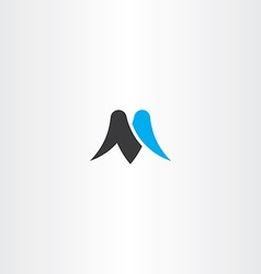 M letter black cyan icon symbol vector