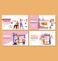 marketing web page template set vector image