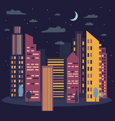 night cityscape skyline with moon vector image