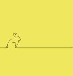 Outline easter rabbit on yellow vector