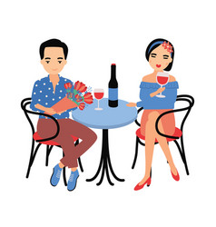 pair of young man and woman sitting at table and vector image