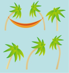 Palm trees and hammock elements vector