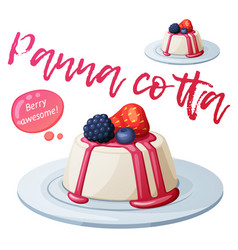 panna cotta dessert with berries icon vector image