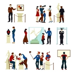 People In Museum Gallery Color Icons vector