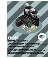 photo color isometric poster vector image