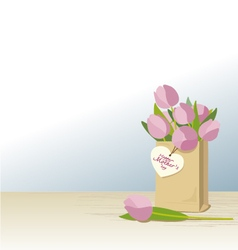 Pink tulips in brown paper bag vector