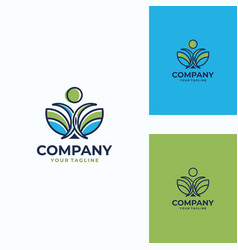 pleasant human logo template vector image