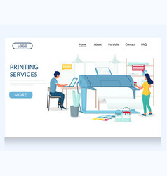 printing services website landing page vector image
