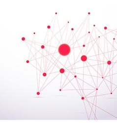 Red molecular connection hi-tech structure vector image