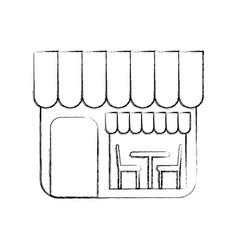 restaurant exterior window door chair table vector image