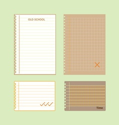Retro lined papers on green background vector