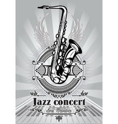 Retro poster for jazz concert with saxophone vector