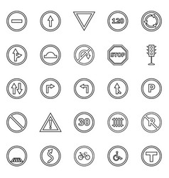 road sign line icons on white background vector image