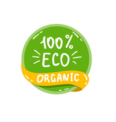 round green label with text eco organic vector image