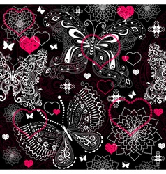 Seamless valentine floral pattern vector