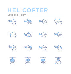 set color line icons helicopter vector image