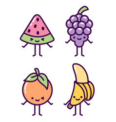 set cute kawaii pastel fruit characters vector image