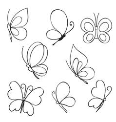 set hand drawn butterflies vector image