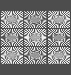 set of black and white rays vector image