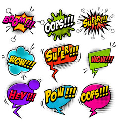 Set of comic style speech bubbles with sound text vector