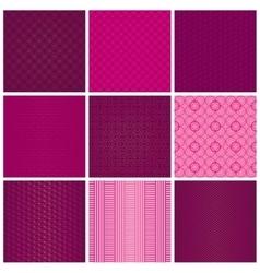 Set of seamless magenta patterns vector