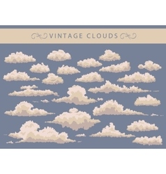 set of vintage clouds on a blue background vector image