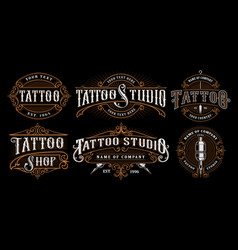 set vintage tattoo emblems version for dark vector image
