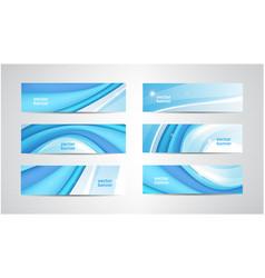 set wavy banners blue wave web headers vector image