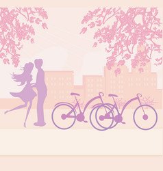 Sillhouette couple standing in park vector